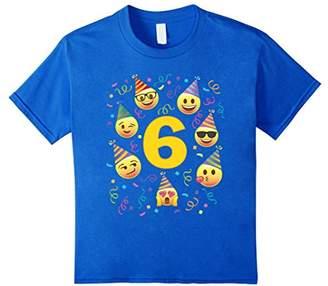 Emoji Birthday Shirt For 6 Six Year Old Girl Boy Party Hats