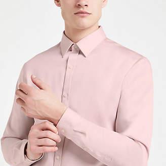 River Island Pink premium cotton slim fit shirt