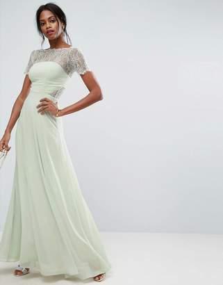 Asos Design Lace Insert Panelled Maxi Dress