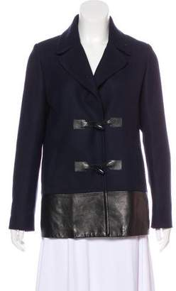 Claudie Pierlot Leather-Trimmed Toggle Jacket
