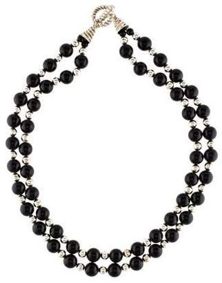 Tiffany & Co. Onyx Double Strand Bead Necklace