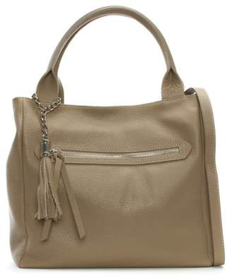 Daniel Marquee Large Taupe Leather Tassel Shoulder Bag