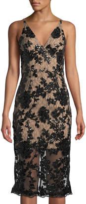 Dress the Population Rebecca Lace-Illusion Midi Dress