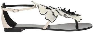 Lola Cruz White Calf Leather Flat Sandals