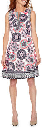 Liz Claiborne Sleeveless Fit & Flare Mid Length Dress