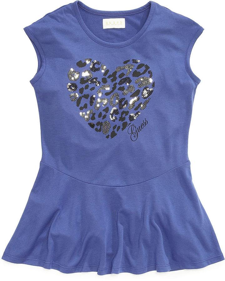 GUESS Shirt, Girls Leopard Heart Top