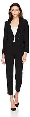 Tahari by Arthur S. Levine Women's Crepe Miltary Style Long Sleeve Jacket Pant Suit