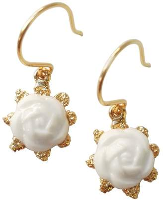 POPORCELAIN - Mini Porcelain Camellia Flower Charm Earrings