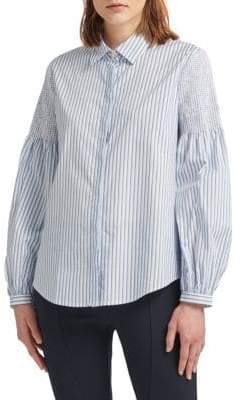 Donna Karan Striped Stretch-Cotton Button-Down Shirt