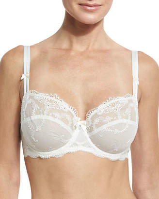 Lise Charmel Orchid Bonheur Mesh-Lace Full-Cup Bra, White