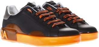 Dolce & Gabbana Portofino Melt Black & Orange Leather Sneakers