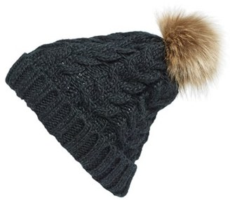 Women's Bp. Knit Beanie With Faux Fur Pompom - Black $19 thestylecure.com