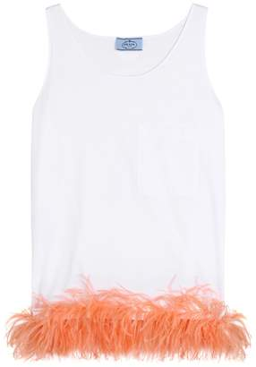 Prada Feather-trimmed sleeveless top