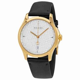 Gucci G-Timeless SIlver Dial Mens Leather Watch YA1264027