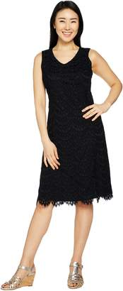 Isaac Mizrahi Live! Petite Scallop Lace Knee Length Dress