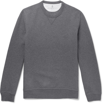 Brunello Cucinelli Fleece-Back Stretch-Cotton Jersey Sweatshirt - Men - Gray