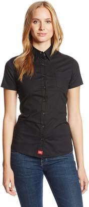 Dickies Juniors Short Sleeve Button Front Poplin Shirt