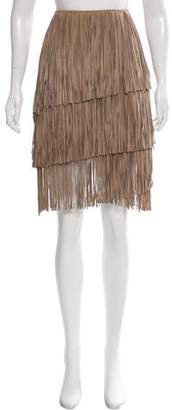 LaMarque Collection Suede Fringe-Trimmed Skirt