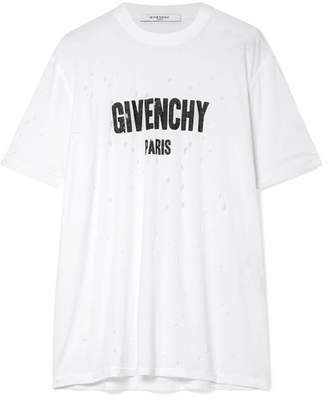 Givenchy Oversized Distressed Printed Cotton-jersey T-shirt - White