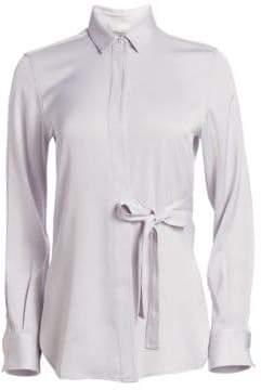 3.1 Phillip Lim Women's Long Sleeve Tie-Waist Top - Light Grey - Size 0
