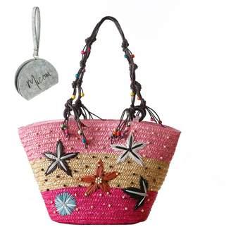 Micom Bohemian Embroidered Starfish Tri-Tone Straw Braid Beach Tote Shoulder Handbags with Bead Handles