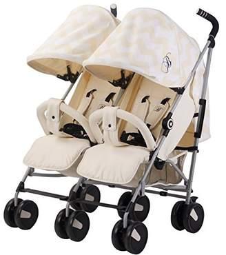 My Babiie Billie Faiers MB22 Cream Chevron Twin Stroller