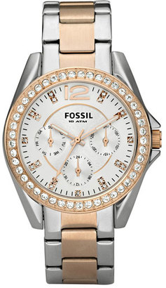 Women's Fossil 'Riley' Round Crystal Bezel Bracelet Watch, 38Mm $135 thestylecure.com