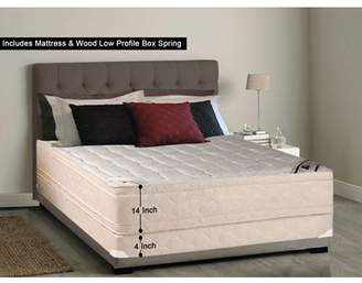 WAYTON, 14-inch Fully Assembled Firm Euro Top Innerspring Double Sided Mattress and 4-inch Wood Box Spring/foundation set,  Twin XL Size 