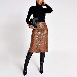 River Island Brown faux leather snake print midi skirt