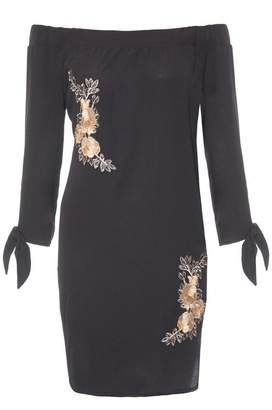 Quiz Black And Gold Embroidered Bardot Tunic Dress