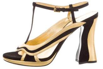 Prada Bi-Color T-Strap Sandals w/ Tags