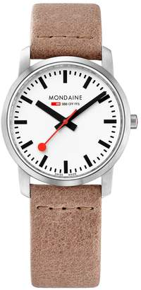 Mondaine Simply Elegant 36mm Stainless Steel Slim Case White Dial Nude Leather Strap Ladies Watch