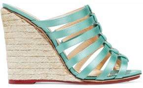 Charlotte Olympia Cutout Silk-satin Espadrille Wedge Mules