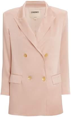 L'Agence Taryn Silk Double Breasted Blazer