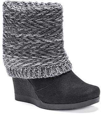 Muk Luks Women's Sienna Wedge Boots Wheeled Heel Shoe