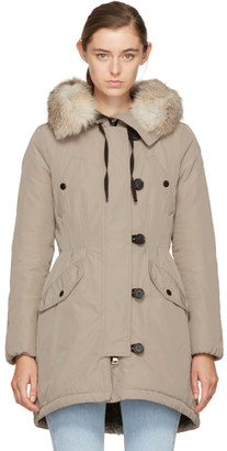 Moncler Taupe Down and Fur Arehdel Coat