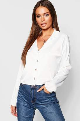 boohoo Hammered Satin Gold Button Revere Collar Shirt