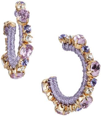 Lydell NYC Hoop Earrings w/ Glass Stones