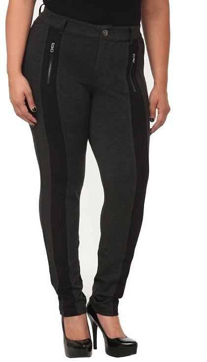 Charcoal Tuxedo Zip Stripe Ponte Skinny Pants