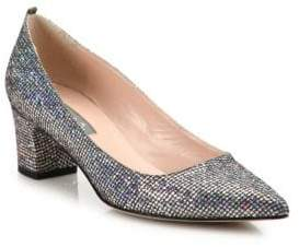 Sarah Jessica Parker Katrina Sequined Point Toe Block Heel Pumps