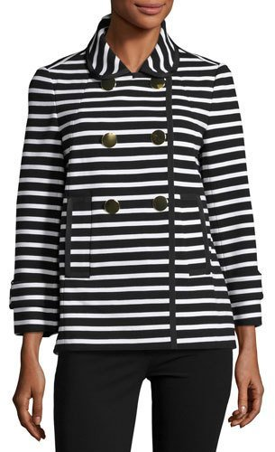 Kate Spade Kate Spade New York Striped Short Pea Coat, Black/Cream