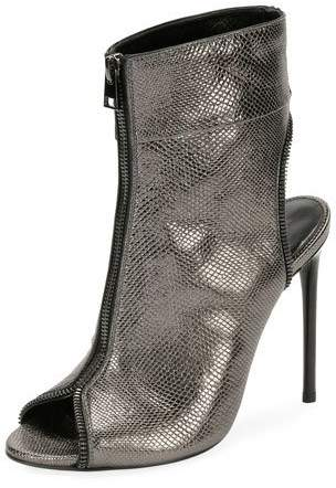 TOM FORD Metallic Karung Open-Toe Zip Bootie, Gray