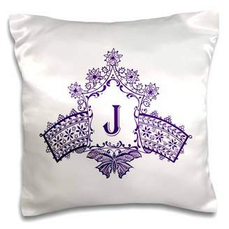 3dRose Monogram Initial J in Purple Diadem with Butterfly Detail - Pillow Case, 16 by 16-inch