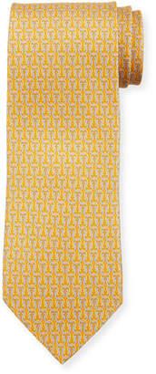 Salvatore Ferragamo Fortuna Linked Gancini Silk Tie, Yellow