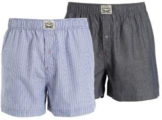 2 Pack Striped & Chambray Cotton Boxers