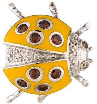 18K Diamond & Enamel Ladybug Brooch Pin