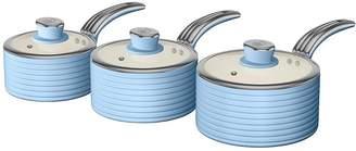 Swan Retro Set Of 3 Saucepans - Blue
