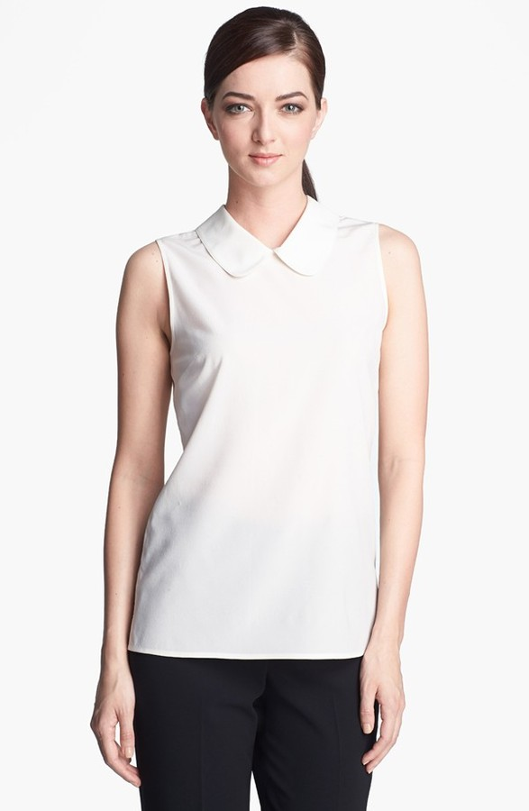 St. John Round Collar Crêpe de Chine Top