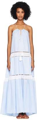Jonathan Simkhai Striped Cotton Drawstring Tank Dress Cover-Up Women's Swimwear