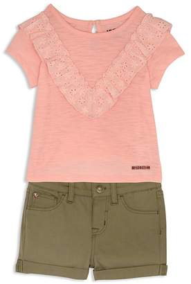 Hudson Girls' Eyelet-Ruffle Tee & Twill Shorts - Little Kid